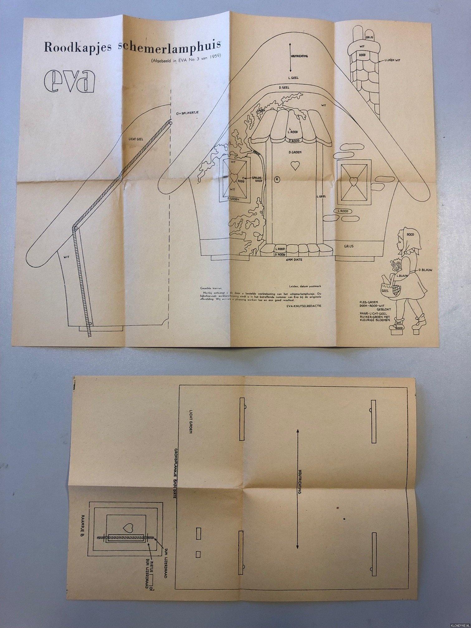 EVA-KNUTSELREDACTIE - Roodkapjes schemerlamphuis (afgebeeld in Eva No 3 van 1959)
