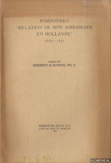 ROWEN, HERBERT H. (EDITED BY) - Pomponne's